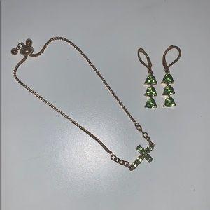 Jewelry - Peridot Lime Green Cross Bracelet/Earring Set💚